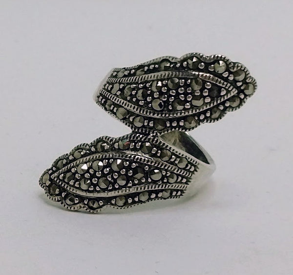 Sterling Silver Marcasite Bypass Ring