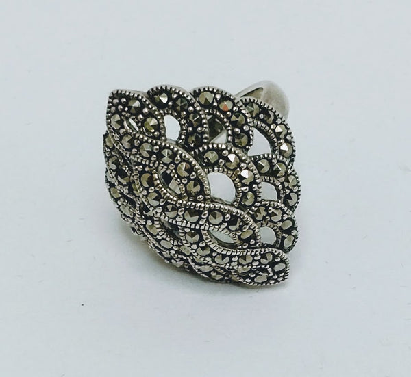 Sterling Silver Marcasite Large Ring