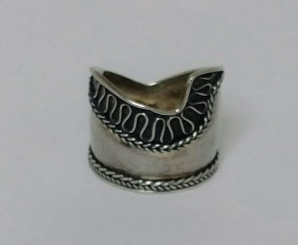 Sterling Silver Wide Band Bali Rope Notch Ring