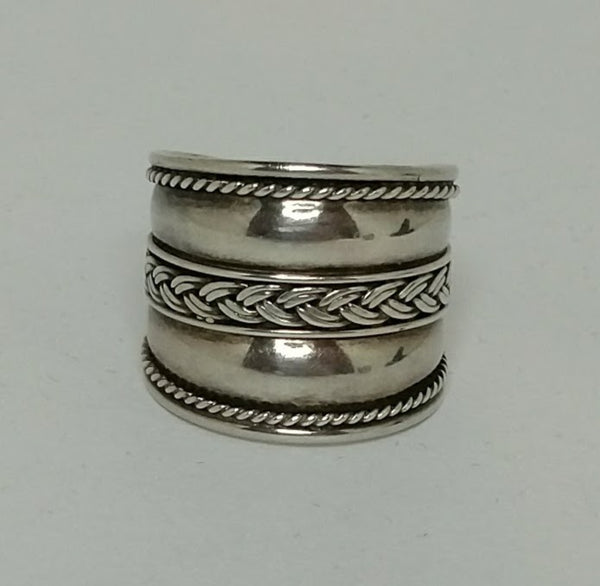 Sterling Silver Wide Band Bali Rope Ring