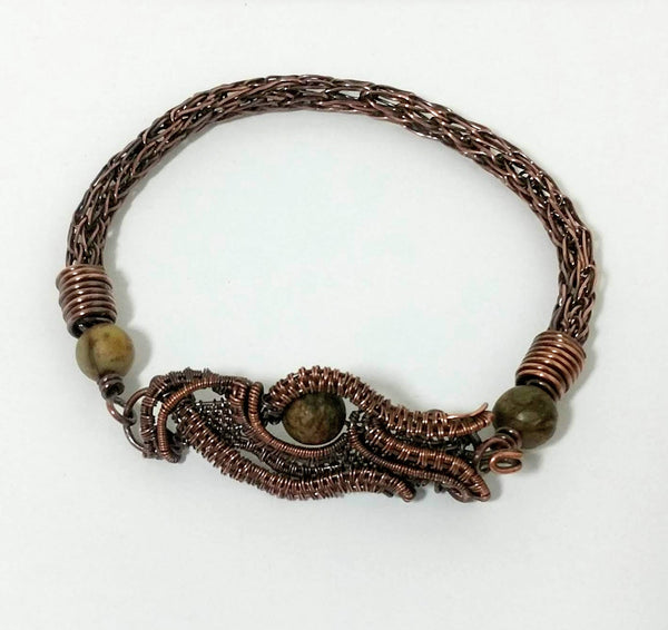 Single Weave Viking Knit Bracelet With Jasper Beads