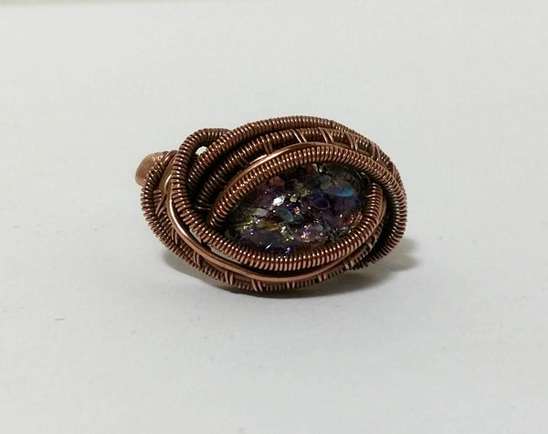 Amethyst Opal Glass Cabochon Ring