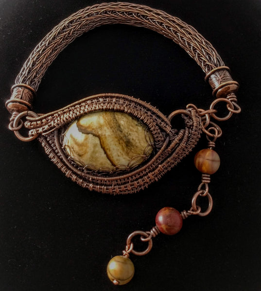 Copper Viking Knit Bracelet With Jasper Gem