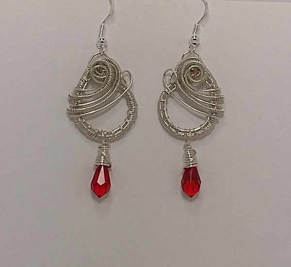 Wrapped Briolette Spiral Dangle Earrings