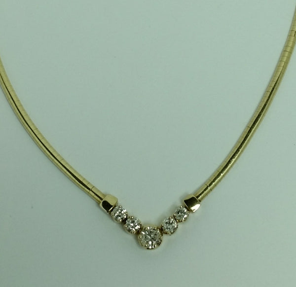 14K Y/G Omega Style Diamond Necklace