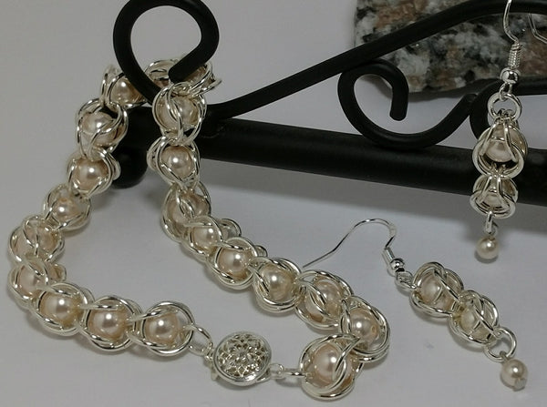 """Captive Pearl"" Set - Sterling Silver Bracelet and Earrings"