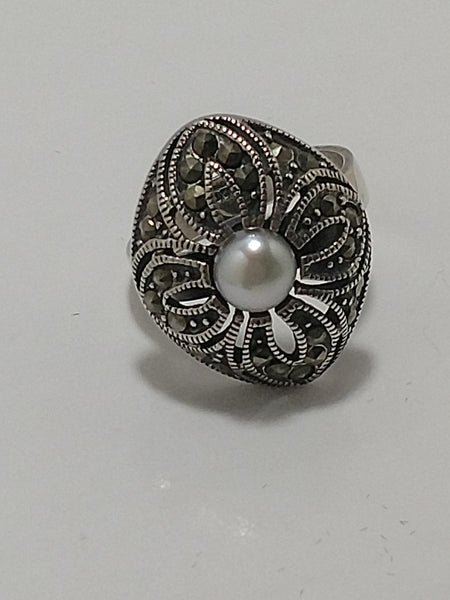 Sterling Silver Marcasite Pearl Ring  Size 5.75