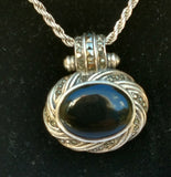 SS Onyx And Marcasite Oval Pendant