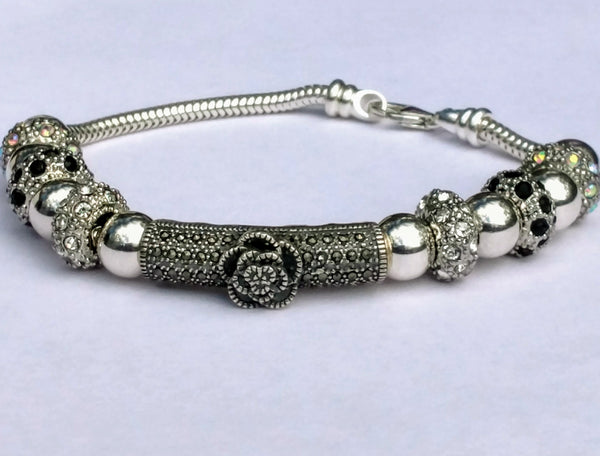 STERLING SILVER MARCASITE FOCAL ELEMENT BRACELET