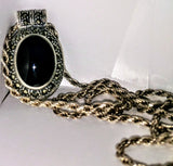 SS MARCASITE/BLACK ONYX OVAL FRAMED SLIDE PENDANT W/ NECKLACE