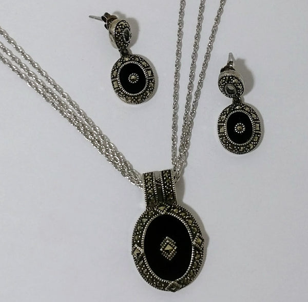 Judith Jack Sterling Silver 2 Piece Onyx And Marcasite Set