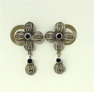 Estate Vintage Sterling Silver Marcasite Onyx Flower Earrings