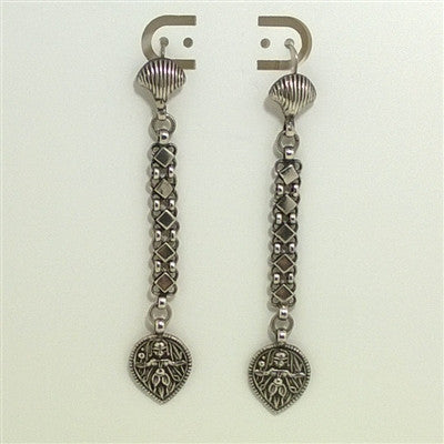 Vintage Antique 800 Silver Early European Dangle Earrings