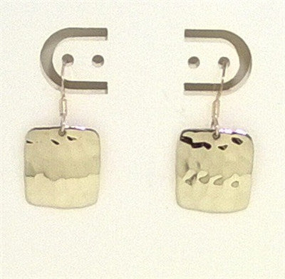 Sterling Silver Hammered Square Dangle Earrings
