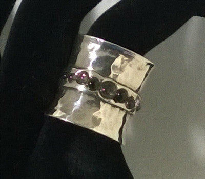 Handcrafted Sterling Silver Ring With Tourmaline Stones