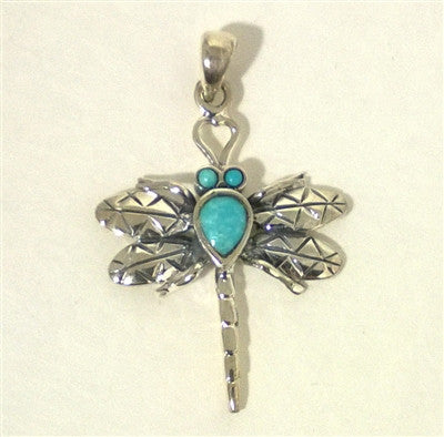 Unique Sterling Silver Turquoise Dragonfly Pendant