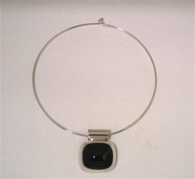 Sterling Silver Black Onyx Pendant w/Choker Necklace