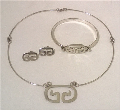 Sterling Silver Choker Necklace 3 piece Set