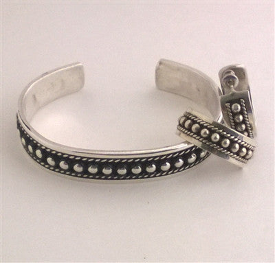 Sterling Silver Beaded Row Cuff Bracelet with Earrings