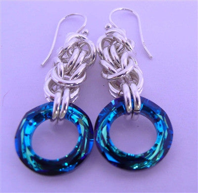 Blue Bermuda Byzantine Earrings