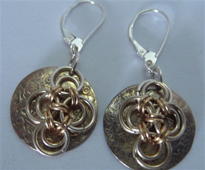 Japanese Flower Coin Earrings