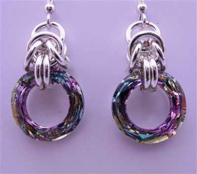 """Vitrail Light"" Chainmaille Earrings"