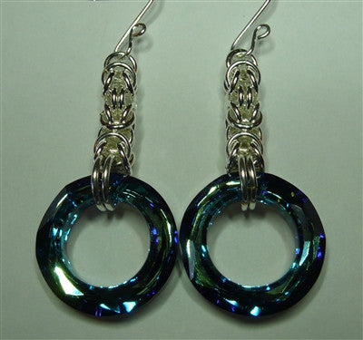 """Big Mama Blue Bermuda"" Byzantine Earrings"