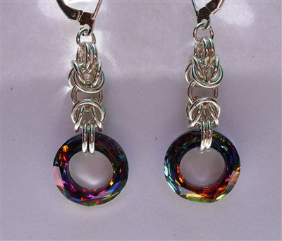 """Volcano"" Crystal Chainmaille Earrings"