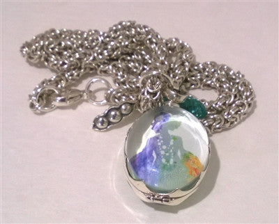 Glass Photo Locket with Byzantine Chainmaille Necklace