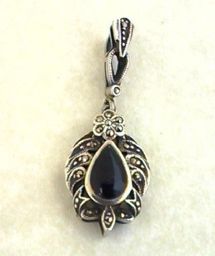 Sterling Silver Onyx and Marcasite Teardrop Pendant