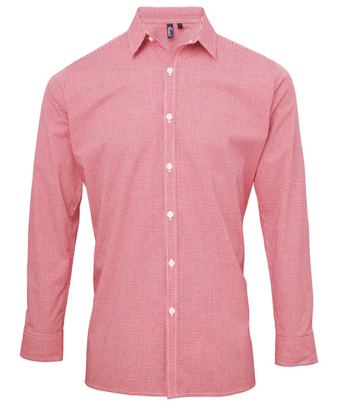 Mens Gingham Mircrocheck Long Sleeve Shirt - Red/White