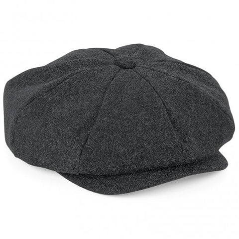 Adult Melton Wool Baker Boy Cap - Charcoal