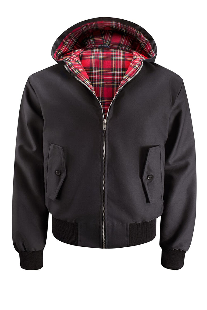 Mens Hooded Harrington Jacket - Black