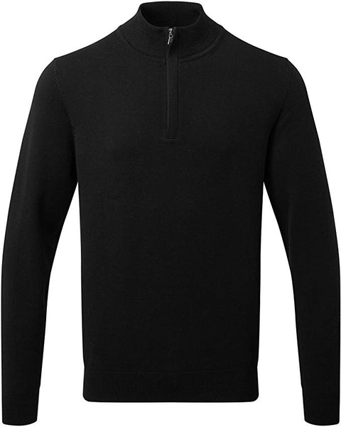 Mens Cotton Blend ¼ Zip Sweater - Black