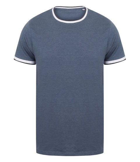 Mens Tipped T-Shirt - Blue Marl/White