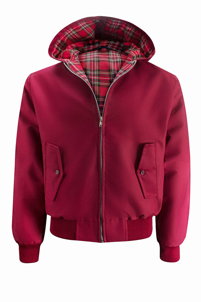 Hooded Harrington Jacket - Burgundy