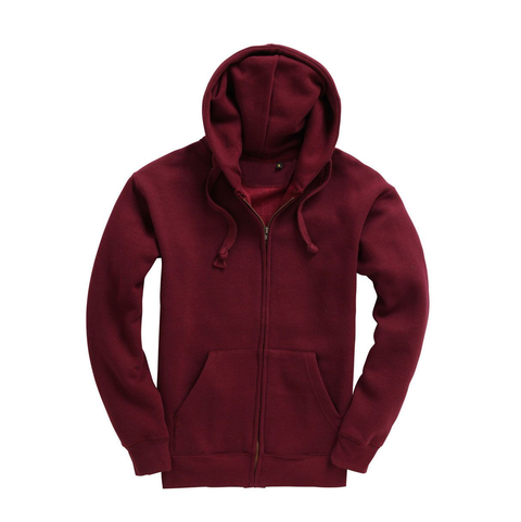 Mens Zip Up Premium Hoodie - Burgundy