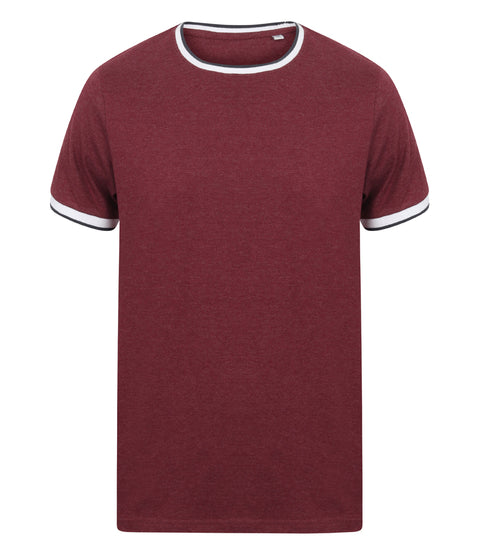Mens Tipped T-Shirt - Burgundy Marl/White