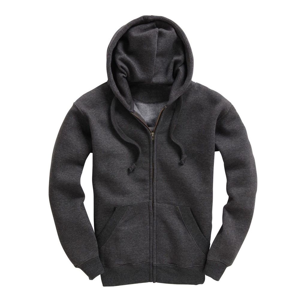 Mens Zip Up Premium Hoodie - Charcoal