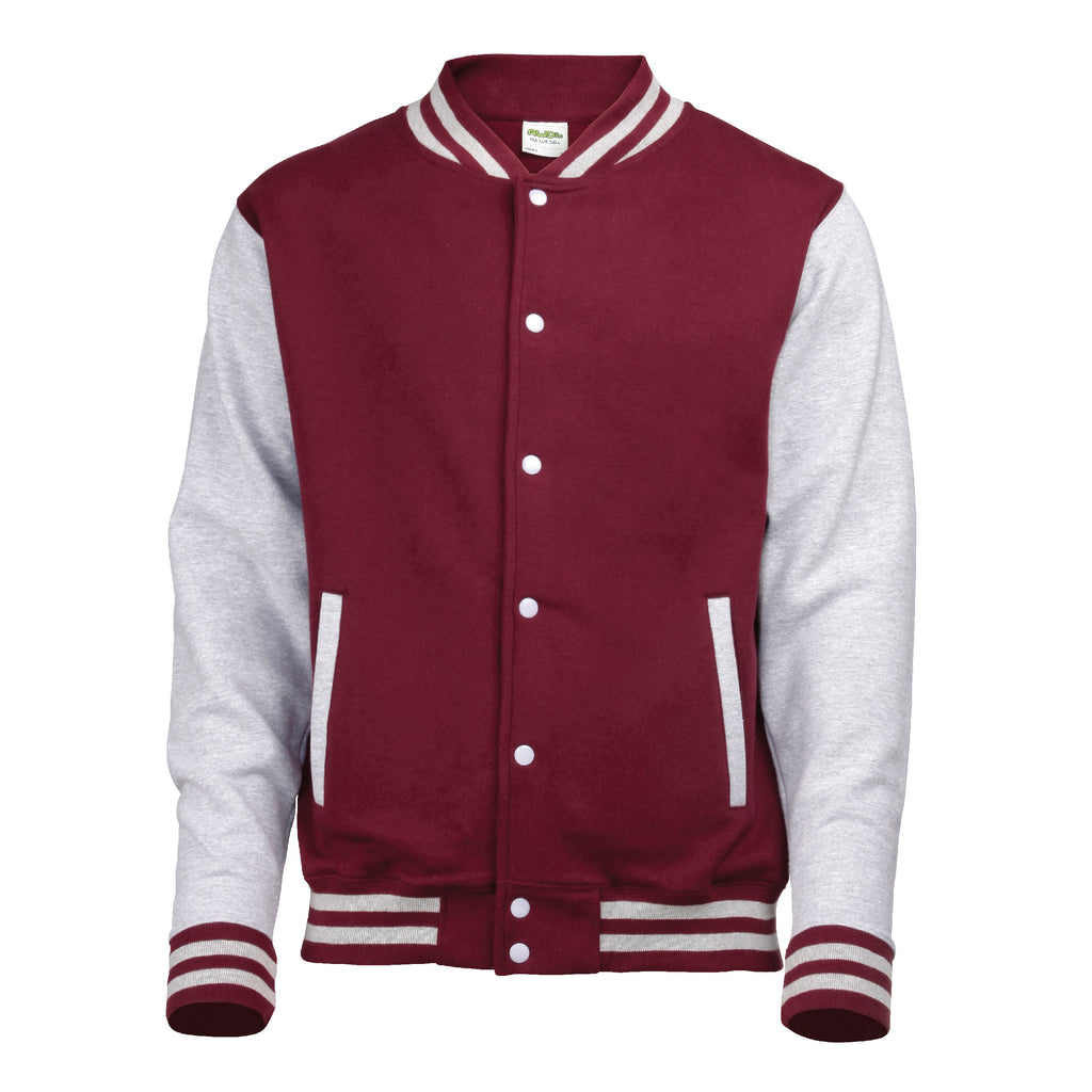 Mens Varsity Jacket - Burgundy/Grey