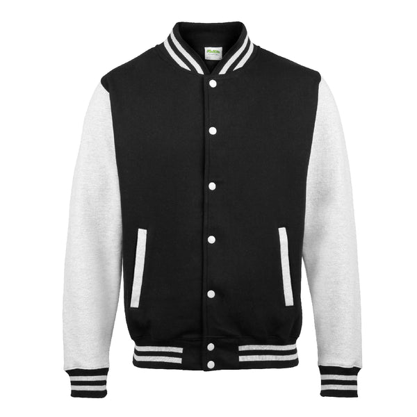 Mens Varsity Jacket - Black/Grey