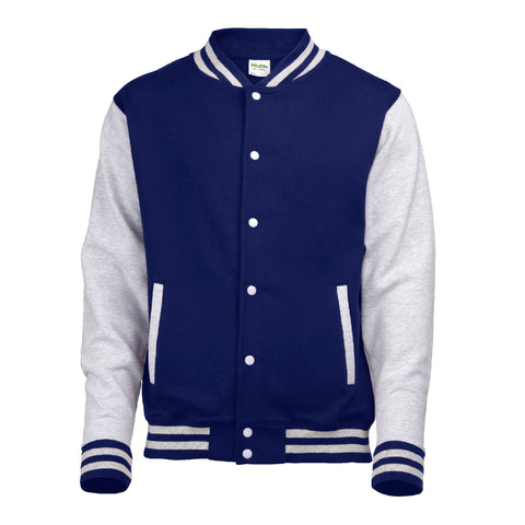 Mens Varsity Jacket - Navy/Grey