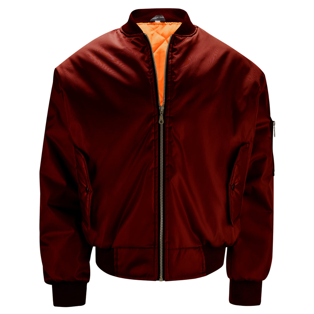 Mens MA1 Flight Bomber Jacket - Burgundy