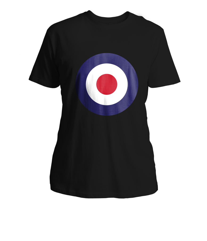 Mens Mod Target T-Shirt (Front Chest) - Black