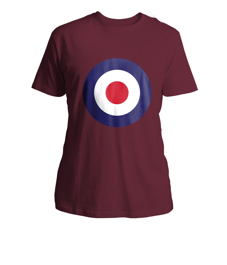 Mens Mod Target T-Shirt (Front Chest) - Burgundy