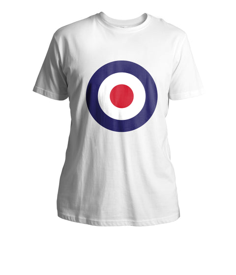 Mens Mod Target T-Shirt (Front Chest) - White