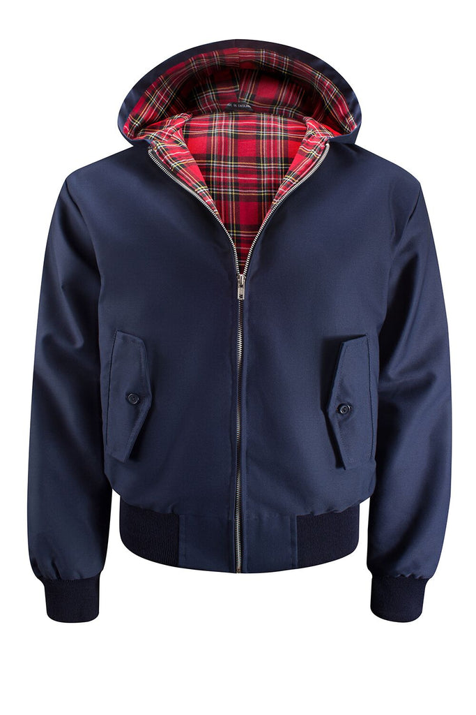 Mens Hooded Harrington Jacket - Navy
