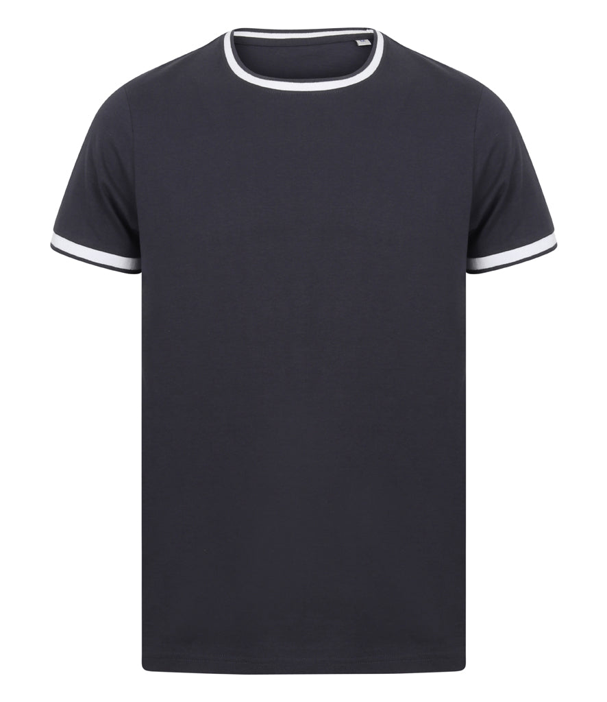 Mens Tipped T-Shirt - Navy/White