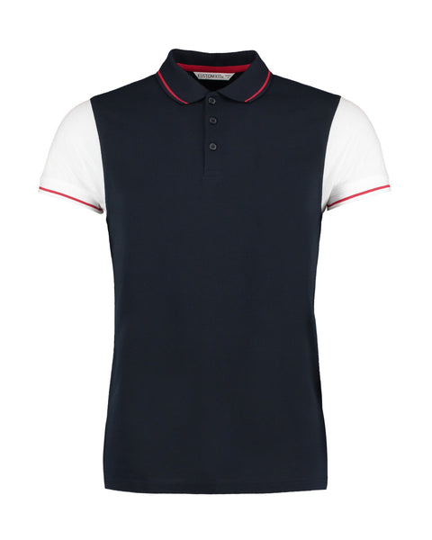 Mens Contrast Coloured Sleeve Polo Shirt - Navy/White