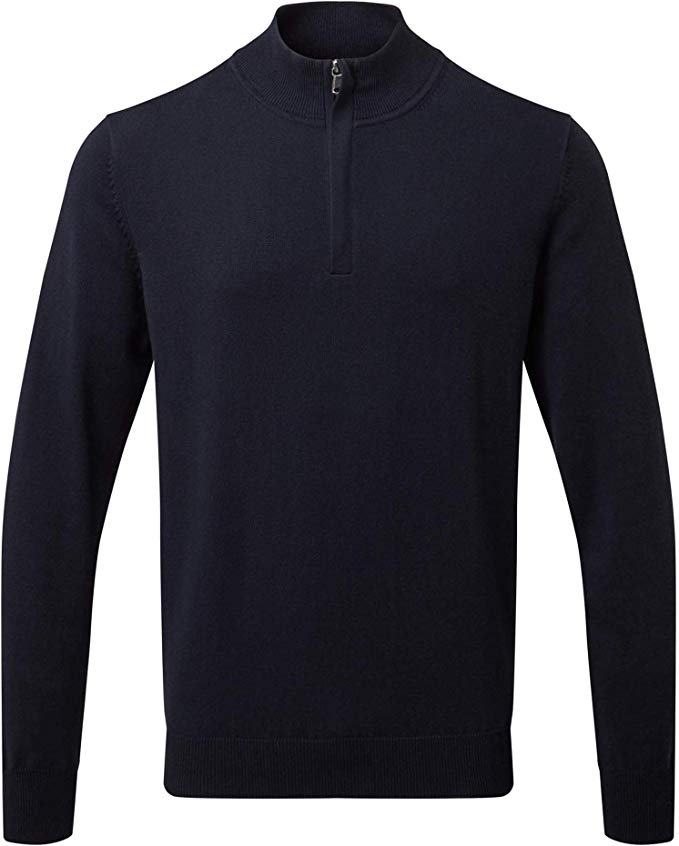 Mens Cotton Blend ¼ Zip Sweater - Navy